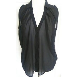 Toto collection black sheer button down shirt